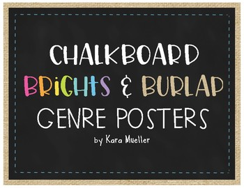 Chalkboard Brights and Burlap Genre Posters