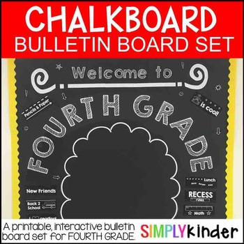 Chalkboard Bulletin Board - First Day of Fourth Grade - Back to School