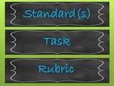 Chalkboard Bulletin board labels Standard, Task, Rubric, Word wall