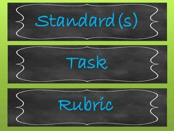 Chalkboard Bulletin board labels Standard, Task, Rubric, Word wall