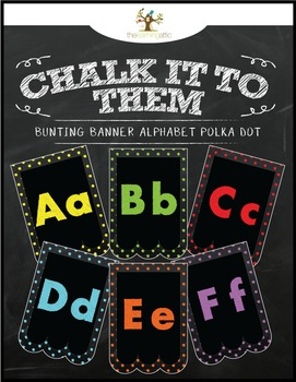 "Chalkboard Bunting Banner Alphabet Polka Dot ""Chalk It To Them Collection"""