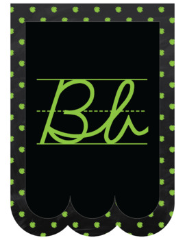 "Chalkboard Bunting Banner Alphabet in Cursive ""Chalk It To Them Collection"""