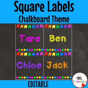Chalkboard Bunting Labels - Square **Editable**