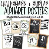 Chalkboard & Burlap Alphabet Posters | 9 Styles | ASL Clipart