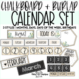 Chalkboard & Burlap Calendar Set | Days of the Week | Months | Birthdays