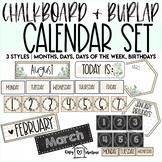 Chalkboard & Burlap Calendar Set | Days of the Week | Mont