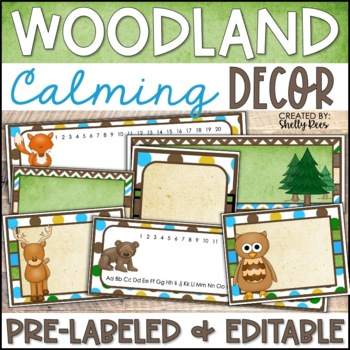 Woodland Animals Classroom Decor - Woodland Theme with EDITABLE Templates
