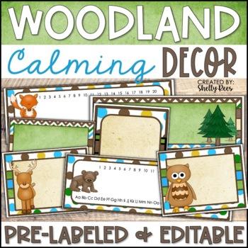 Woodland Animals Classroom Decor - Woodland Theme with EDITABLE Templates