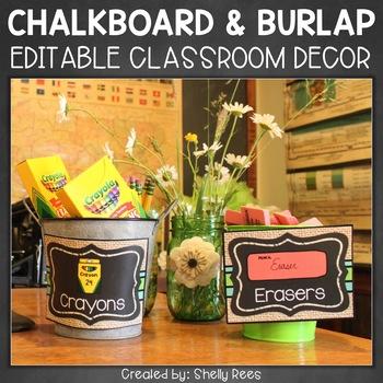 Burlap and Chalkboard Classroom Decor - Rustic Decor - Farmhouse Classroom Decor