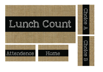 Chalkboard Burlap Lunch Count Signs