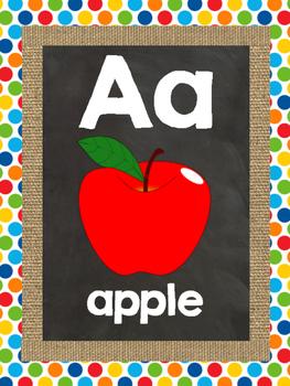 Chalkboard, Burlap, & Primary Color Wall Alphabet