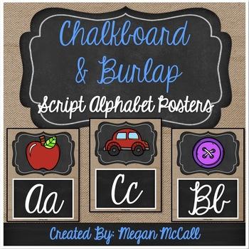 Chalkboard & Burlap: Script Alphabet Posters
