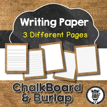 Chalkboard & Burlap Writing Paper