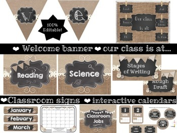 Chalkboard, Burlap and Buttons Classroom Decor Set