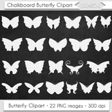 Chalkboard Butterfly Clipart Silhouette Insect Clipart Whi