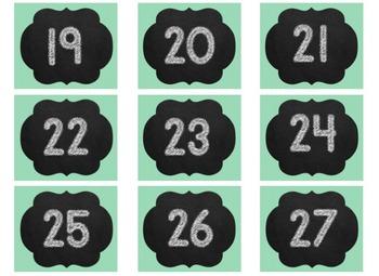 Chalkboard Calendar Editable Set  - Set of 8 Editable Chevron with Chalkboard