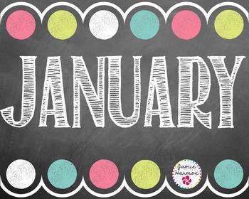 Chalkboard Calendar Headers with Date Cards