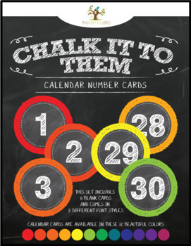 "Chalkboard Calendar Number Cards ""Chalk It To Them Collection"""