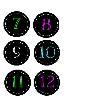 Chalkboard Calendar Numbers