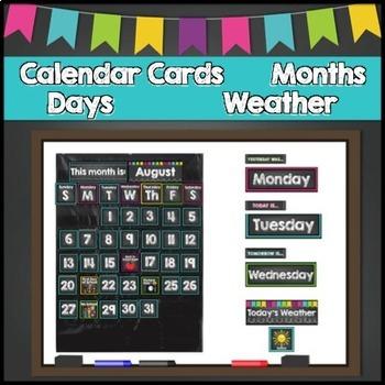 Chalkboard Calendar Set EDITABLE