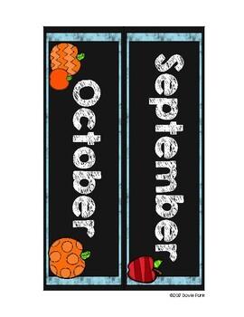 Classroom Decor Chalkboard Turquoise Calendar with BONUS