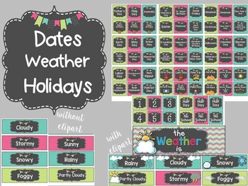Chalkboard Calendar Set- Turquoise, Pink, and Lime Green