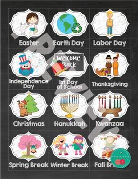 Chalkboard Calendar Special Days