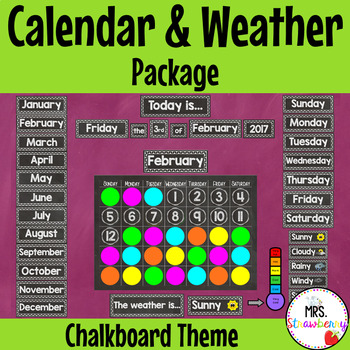 Chalkboard Calendar And Weather Pack By Mrs Strawberry Tpt