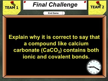 Jeopardy Game: Chemical Bonds Review