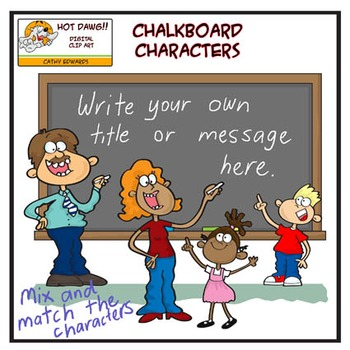 Chalkboard Characters - Digital clip art by Hot Dawg Illustration