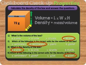 Chalkboard Check-up Properties of Matter