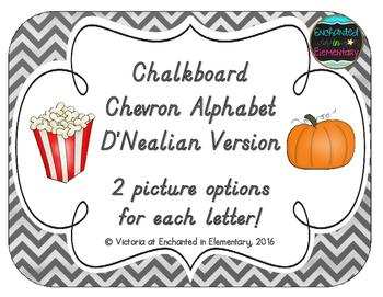 Chalkboard Chevron Alphabet Cards: D'Nealian Version