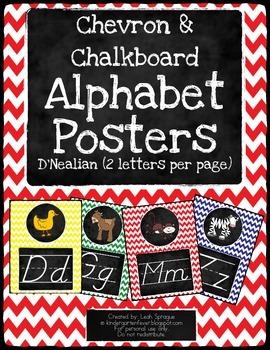 Chalkboard Chevron Alphabet D'Nealian (2 letters per page)