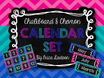 Chalkboard & Chevron Calendar Set