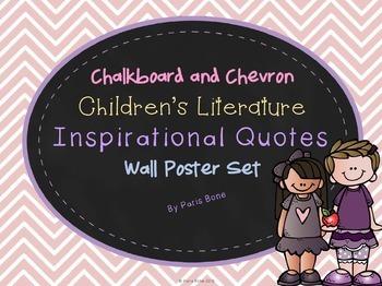 Chalkboard & Chevron Children's Literature Inspirational Quotes Poster Set