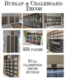 Chalkboard & Burlap Classroom Decor Bundle - FULL SET