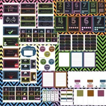 Classroom Theme Decor / Organization - Mega Bundle Editable Chalkboard & Chevron