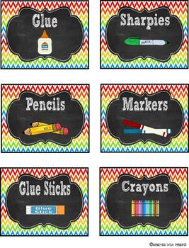 Chalkboard Chevron Classroom Supply Labels