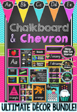 Chalkboard & Chevron Decor Bundle in Queensland Beginners Font