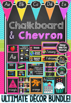 Chalkboard & Chevron Decor Bundle in Queensland Beginners Font