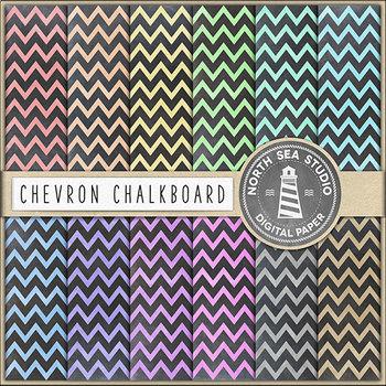 Chalkboard Chevron Digital Paper, Zig-Zag Pattern