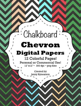 Chalkboard Chevron Digital Papers! Personal/Commercial Use! Easy Terms of Use!