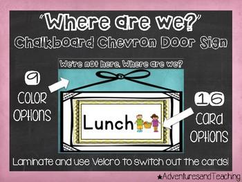 Chalkboard Chevron Door Sign {Where are we?}