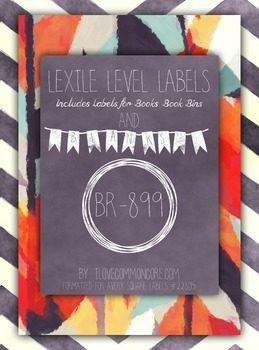 Chalkboard Chevron Lexile Level Labels for Books and Book