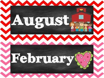 Chalkboard Chevron Month Labels
