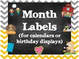 Chalkboard Chevron Month Labels
