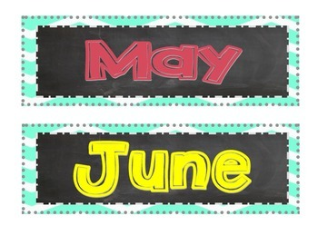 Chalkboard Chevron Months of the Year