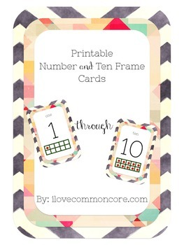 Chalkboard Chevron Number Card and Ten Frames
