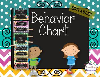 Chalkboard Chevron Polka Dots (Pink -Red) Behavior Chart