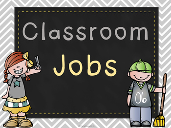 Chalkboard & Chevron Printable Classroom Jobs Set